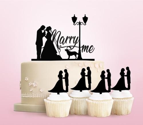 TC0116 Marry Me Cake Cupcake Toppers Acrylique De Mariage Joyeux pour Gâteau Partie Décoration 11 Pièces