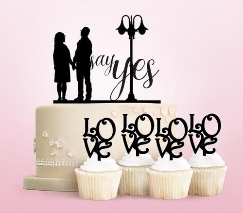 TC0154 Say Yes Cake Cupcake Toppers Acrylique De Mariage Joyeux pour Gâteau Partie Décoration 11 Pièces