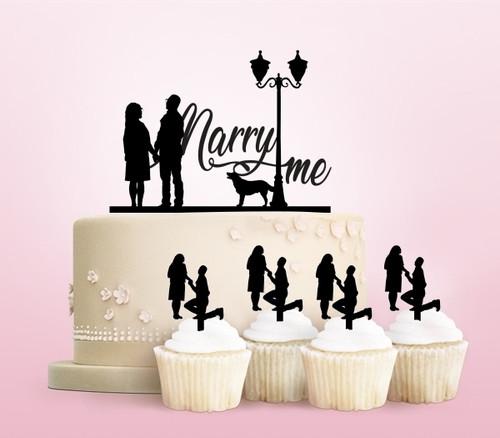 TC0156 Marry Me Cake Cupcake Toppers Acrylique De Mariage Joyeux pour Gâteau Partie Décoration 11 Pièces