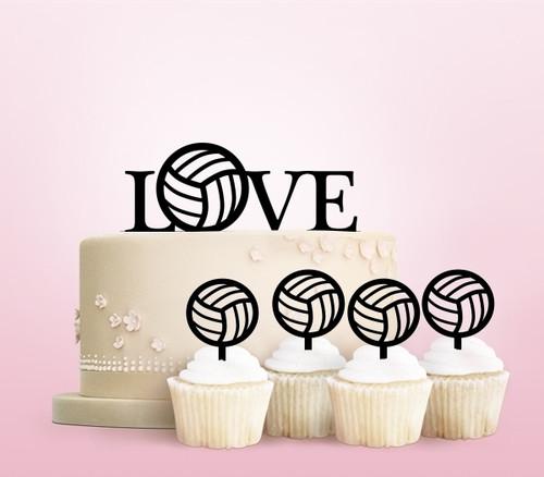 TC0191 Love Volleyball Cake Cupcake Toppers Acrylique De Mariage Joyeux pour Gâteau Partie Décoration 11 Pièces