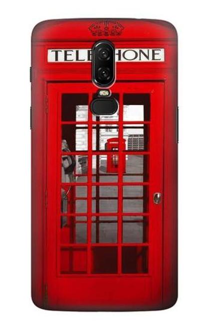 S0058 British Red Telephone Box Etui Coque Housse pour OnePlus 6
