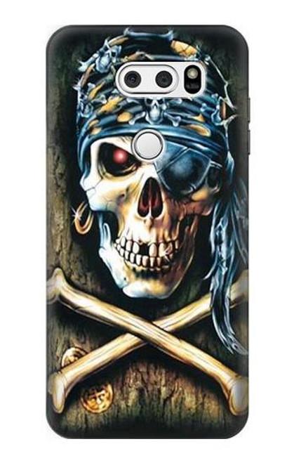 S0151 Pirate Skull Punk Rock Etui Coque Housse pour LG V30, LG V30 Plus, LG V30S ThinQ, LG V35, LG V35 ThinQ