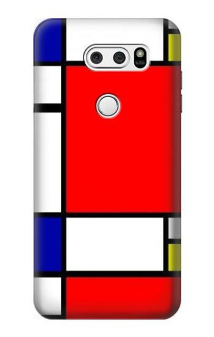 S0157 Composition Red Blue Yellow Etui Coque Housse pour LG V30, LG V30 Plus, LG V30S ThinQ, LG V35, LG V35 ThinQ
