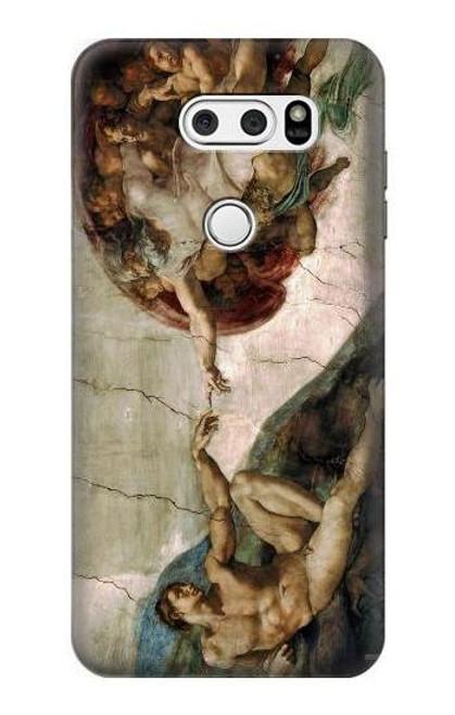 S0179 Michelangelo Creation of Adam Etui Coque Housse pour LG V30, LG V30 Plus, LG V30S ThinQ, LG V35, LG V35 ThinQ
