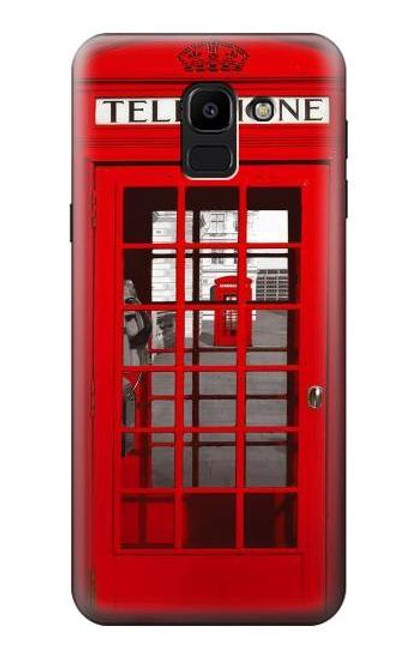 S0058 British Red Telephone Box Etui Coque Housse pour Samsung Galaxy J6 (2018)