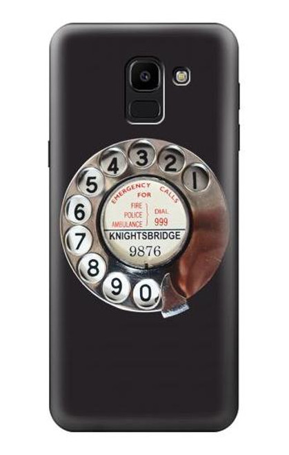 S0059 Retro Rotary Phone Dial On Etui Coque Housse pour Samsung Galaxy J6 (2018)