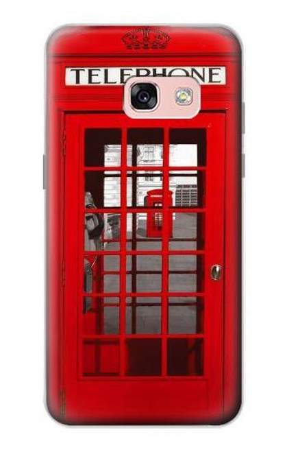 S0058 British Red Telephone Box Etui Coque Housse pour Samsung Galaxy A3 (2017)