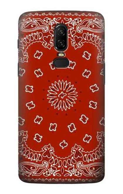 S3355 Bandana Red Pattern Etui Coque Housse pour OnePlus 6