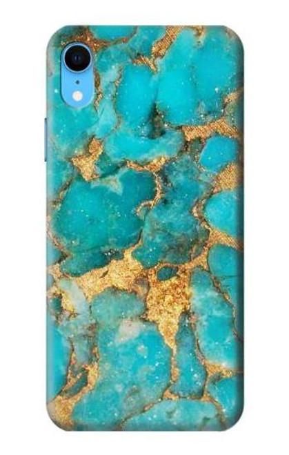 S2906 Aqua Turquoise Stone Etui Coque Housse pour iPhone XR