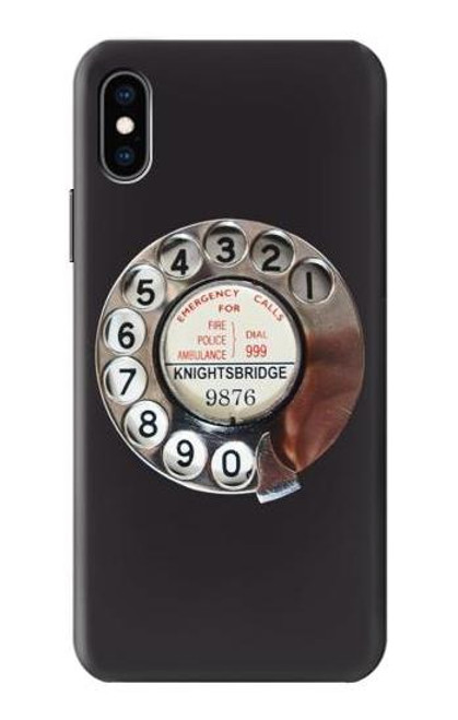 S0059 Retro Rotary Phone Dial On Etui Coque Housse pour iPhone X, iPhone XS