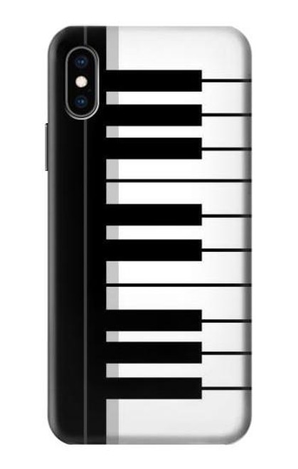 S3078 Black and White Piano Keyboard Etui Coque Housse pour iPhone X, iPhone XS