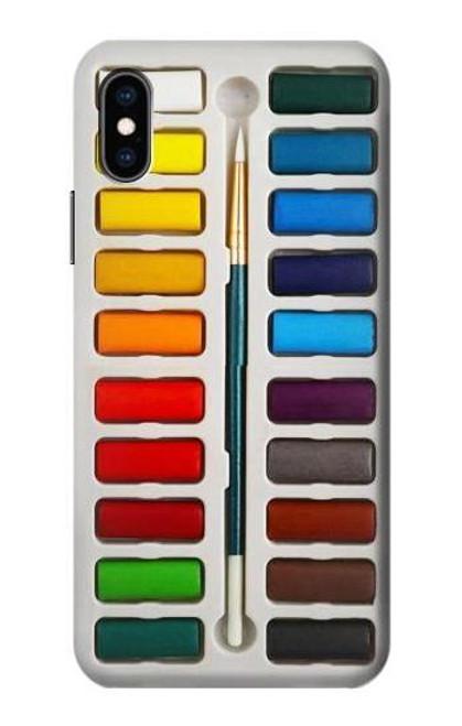 S3243 Watercolor Paint Set Etui Coque Housse pour iPhone X, iPhone XS