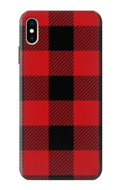 S2931 Red Buffalo Check Pattern Etui Coque Housse pour iPhone XS Max