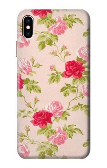 S3037 Pretty Rose Cottage Flora Etui Coque Housse pour iPhone XS Max