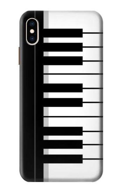 S3078 Black and White Piano Keyboard Etui Coque Housse pour iPhone XS Max