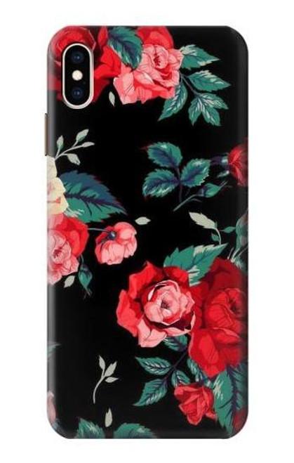 S3112 Rose Floral Pattern Black Etui Coque Housse pour iPhone XS Max
