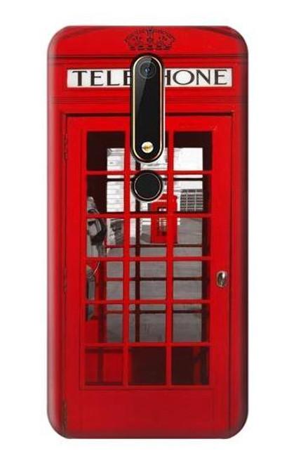 S0058 British Red Telephone Box Etui Coque Housse pour Nokia 6.1, Nokia 6 2018