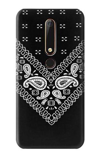 S3363 Bandana Black Pattern Etui Coque Housse pour Nokia 6.1, Nokia 6 2018