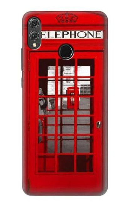 S0058 British Red Telephone Box Etui Coque Housse pour Huawei Honor 8X