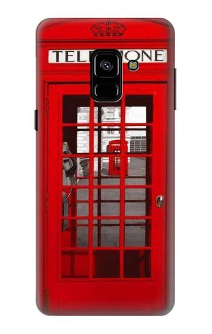 S0058 British Red Telephone Box Etui Coque Housse pour Samsung Galaxy A8 (2018)