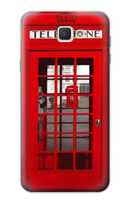 S0058 British Red Telephone Box Etui Coque Housse pour Samsung Galaxy J7 Prime