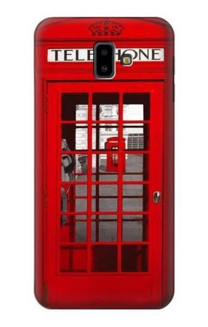 S0058 British Red Telephone Box Etui Coque Housse pour Samsung Galaxy J6+ (2018), J6 Plus (2018)