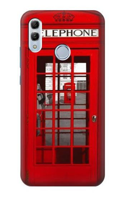 S0058 British Red Telephone Box Etui Coque Housse pour Huawei Honor 10 Lite, Huawei P Smart 2019