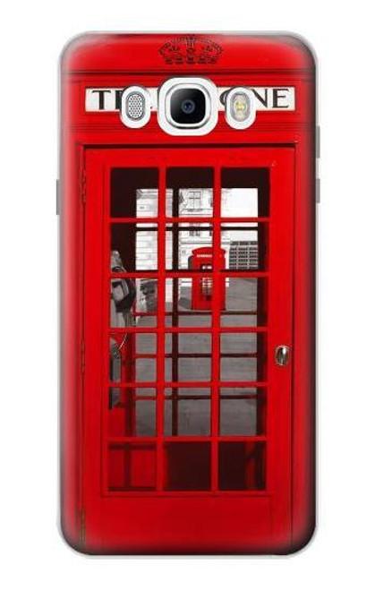 S0058 British Red Telephone Box Etui Coque Housse pour Samsung Galaxy J7 (2016)