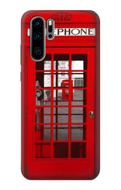 S0058 British Red Telephone Box Etui Coque Housse pour Huawei P30 Pro