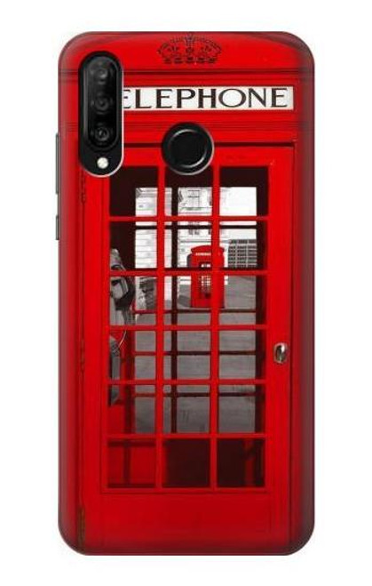S0058 British Red Telephone Box Etui Coque Housse pour Huawei P30 lite
