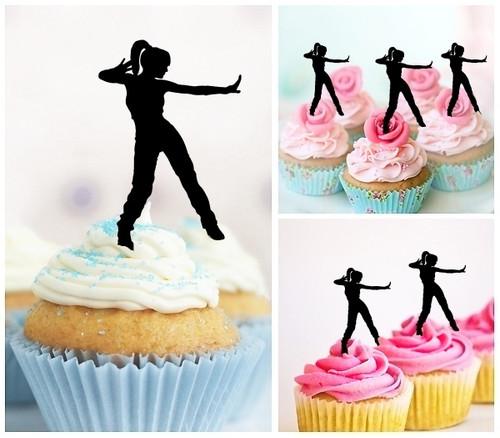 TA1004 Street Dance Hip Hop Female Cupcake Toppers Acrylique De Mariage Joyeux anniversaire pour Gâteau Partie Décoration 10 Pièces