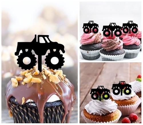 TA1107 Bigfoot Monster Truck Cupcake Toppers Acrylique De Mariage Joyeux anniversaire pour Gâteau Partie Décoration 10 Pièces