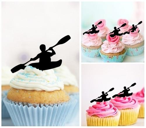 TA1121 Sea Kayak Canoe Cupcake Toppers Acrylique De Mariage Joyeux anniversaire pour Gâteau Partie Décoration 10 Pièces