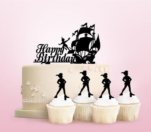 TC0223 Happy Birthday Peter Pan Ship Cake Cupcake Toppers Acrylique De Mariage Joyeux pour Gâteau Partie Décoration 11 Pièces