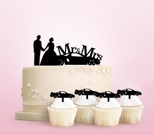 TC0255 Racing Car Wedding Cake Cupcake Toppers Acrylique De Mariage Joyeux pour Gâteau Partie Décoration 11 Pièces