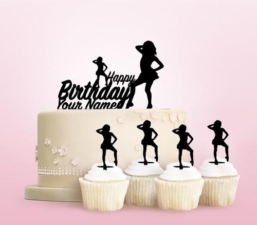 TC0258 Happy Birthday Girl Dance Cake Cupcake Toppers Acrylique De Mariage Joyeux pour Gâteau Partie Décoration 11 Pièces