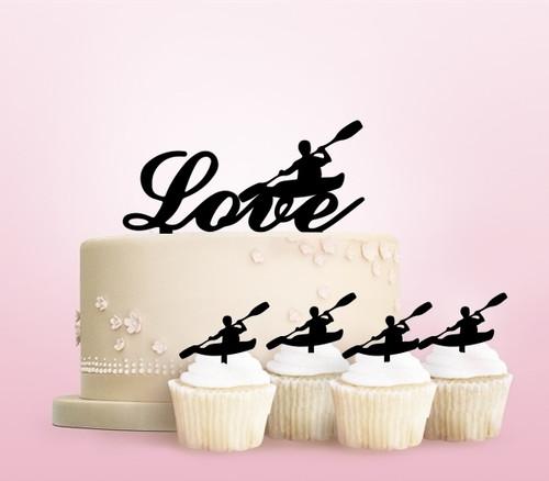 TC0262 Sea Kayak Canoe Cake Cupcake Toppers Acrylique De Mariage Joyeux pour Gâteau Partie Décoration 11 Pièces