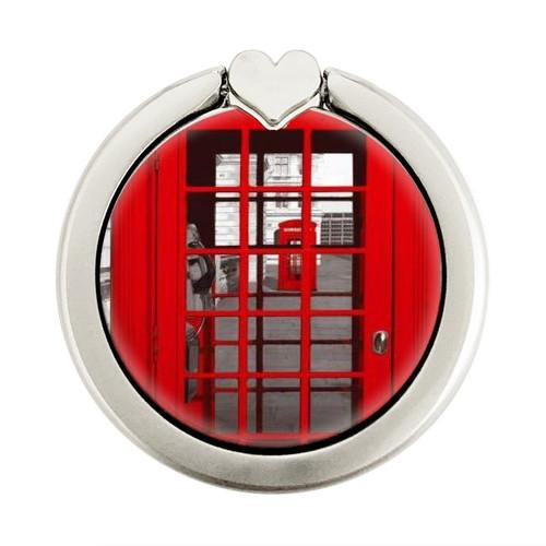 S0058 British Red Telephone Box Graphique Porte-Bague et Pop Up Grip doigt Socket Support