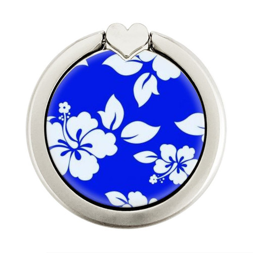 S2244 Hawaiian Hibiscus Blue Pattern Graphique Porte-Bague et Pop Up Grip doigt Socket Support