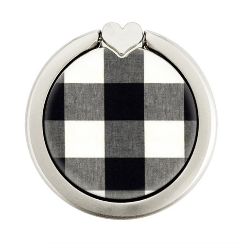 S2842 Black and White Buffalo Check Pattern Graphique Porte-Bague et Pop Up Grip doigt Socket Support