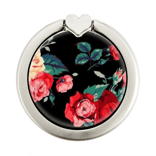 S3112 Rose Floral Pattern Black Graphique Porte-Bague et Pop Up Grip doigt Socket Support