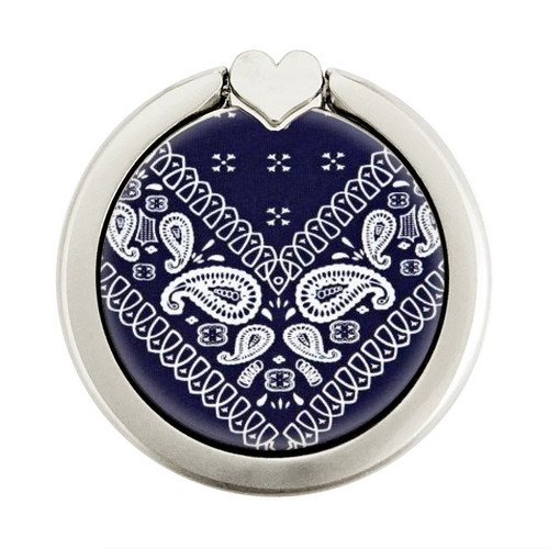 S3357 Navy Blue Bandana Pattern Graphique Porte-Bague et Pop Up Grip doigt Socket Support
