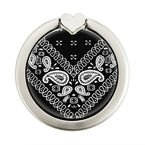 S3363 Bandana Black Pattern Graphique Porte-Bague et Pop Up Grip doigt Socket Support