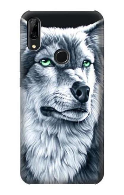 S0123 Grim White Wolf Etui Coque Housse pour Huawei P Smart Z, Y9 Prime 2019