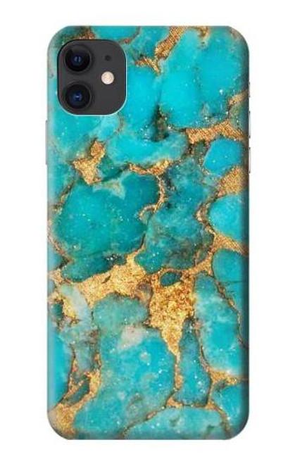 S2906 Aqua Turquoise Stone Etui Coque Housse pour iPhone 11