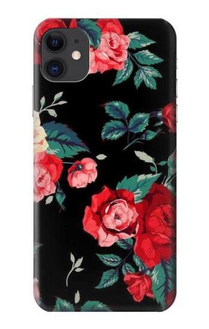 S3112 Rose Floral Pattern Black Etui Coque Housse pour iPhone 11
