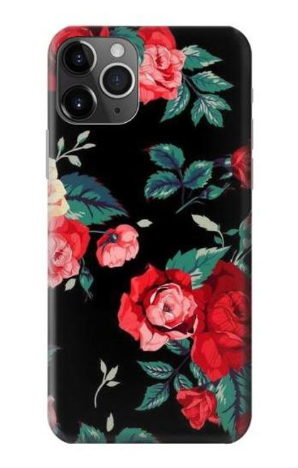 S3112 Rose Floral Pattern Black Etui Coque Housse pour iPhone 11 Pro