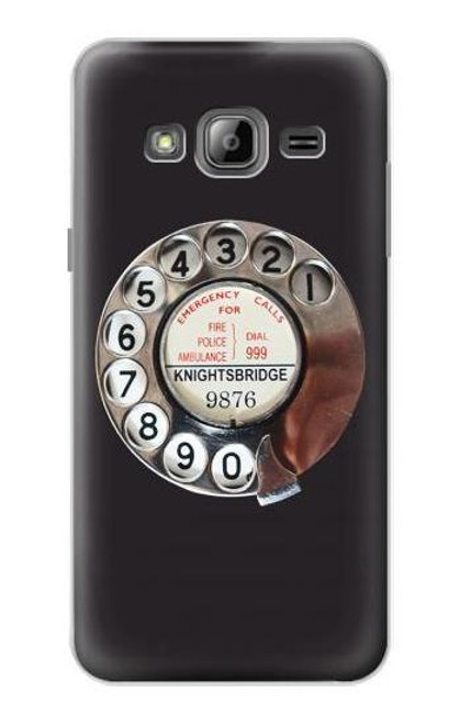 S0059 Retro Rotary Phone Dial On Etui Coque Housse pour Samsung Galaxy J3 (2016)