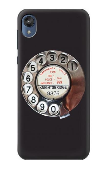 S0059 Retro Rotary Phone Dial On Etui Coque Housse pour Motorola Moto E6, Moto E (6th Gen)