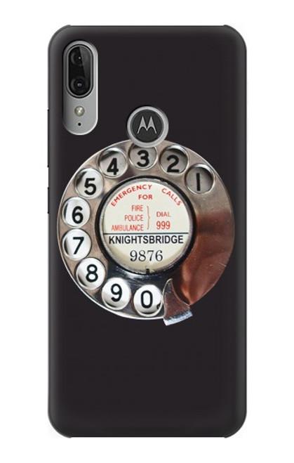 S0059 Retro Rotary Phone Dial On Etui Coque Housse pour Motorola Moto E6 Plus, Moto E6s